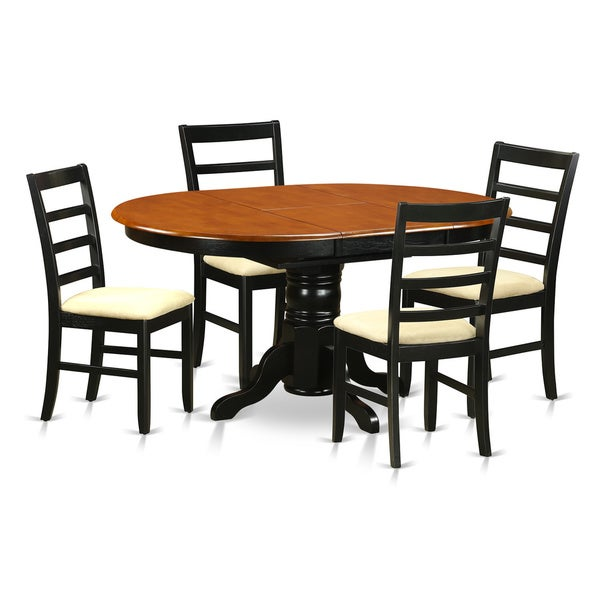 cherry and black finish rubberwood 5 piece dining room set with dining