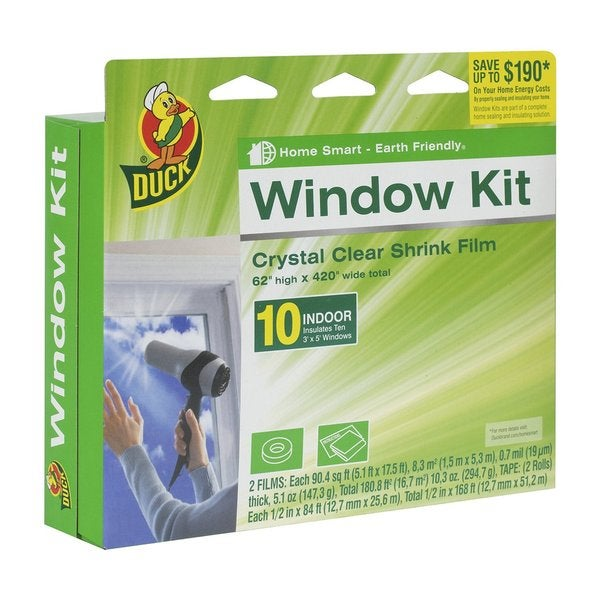 Duck Indoor Clear Shrink Film 62-inch x 420-inch 10-window Insulator Kit