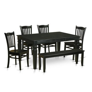 WEGR6D-BLK-W Black Rubberwood 6-piece Dining Room Table Set
