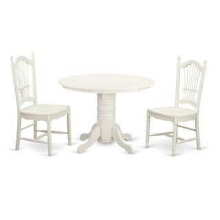 Linen White Finish Solid Rubberwood 3-Piece Dining Set With Shelton Table and 2 Sheaf-Back Dover Chairs