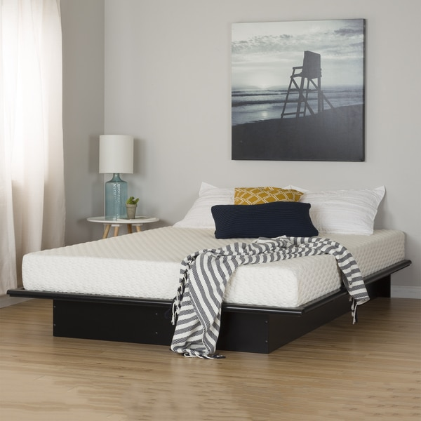 "South Shore Step One Pure Black Queen Platform Bed and Mattress Set (60"")"