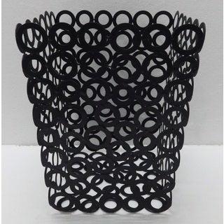 Red Vanilla Black Metal 7.75-inch x 9.75-inch Rings Waste Bins (Set of 2)
