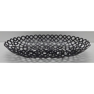 Red Vanilla Black Metal 17.5-inch x 11-inch x 3-inch Rings Oval Centerpiece (Set of 2)