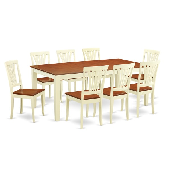 QUAV9 Cream, Off-White Rubberwood 9-piece Dining Room Set