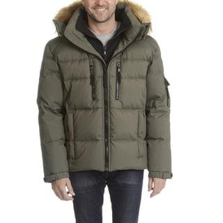S13 Men's Black Down, Nylon, Polyester, Faux Fur Trim Hooded Jacket