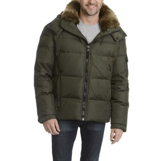 S13 Men's Quilted Hooded with Faux Fur Trim Collar Jacket