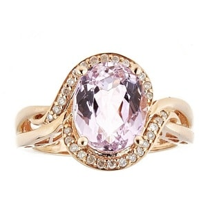 Anika and August 14k Rose Gold Kunzite and Diamond Ring