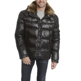 S13 Men's Black Quilted Nylon Hooded With Faux Fur Trim Collar Jacket