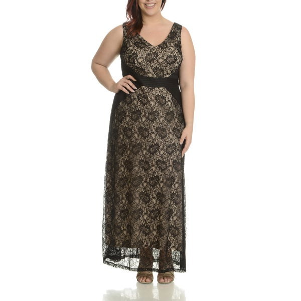 London Times Women's Beige, Black Cotton, Nylon Plus Size Lace Overlay Maxi Dress