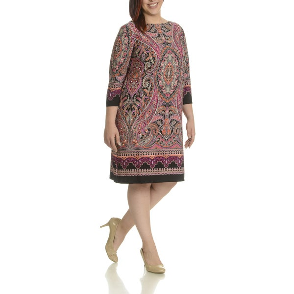 London Times Women's Multicolor Polyester, Spandex Plus Size Paisley Shift Dress