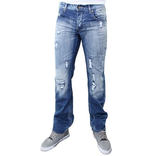 Dinamit Men's Blue Cotton JSM Distress Straight-leg Jeans