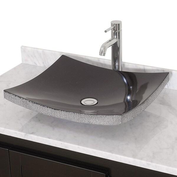Wyndham Collection Black/Cream/White Stone Vessel Bathroom Sink