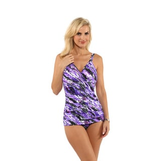 Miraclesuit Purple Printed Wrap One-Piece