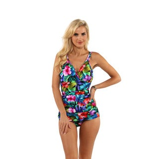 Miraclesuit Tropical Print Front-Drape One-Piece