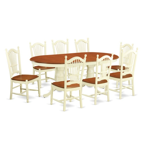 Cream/Cherry Two-tone Wooden 9-piece Dining Table Set