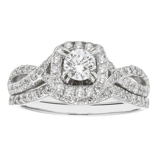 Sofia 14K White Gold 1 ct TDW IGL Certified Round cut Bridal Set (H-I I1)