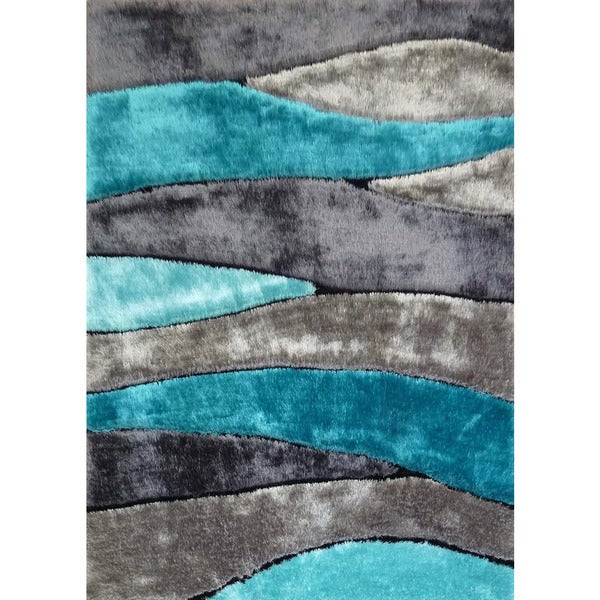 Silver Grey Turquoise Black Viscose Handmade Shag Area Rug