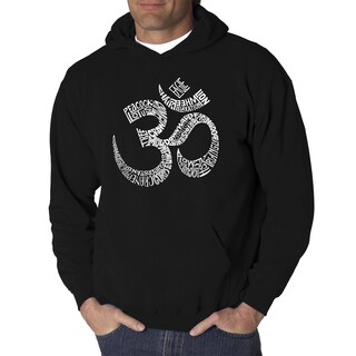 Los Angeles Pop Art Men's Poses Om Black/Grey Cotton/Polyester Hooded Sweatshirt