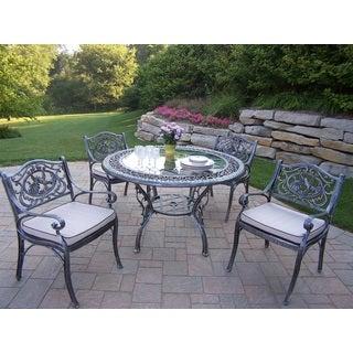 Explorer Tea Rose Cast Aluminum 5-piece Dining Set with 48-inch Tempered Glass Top