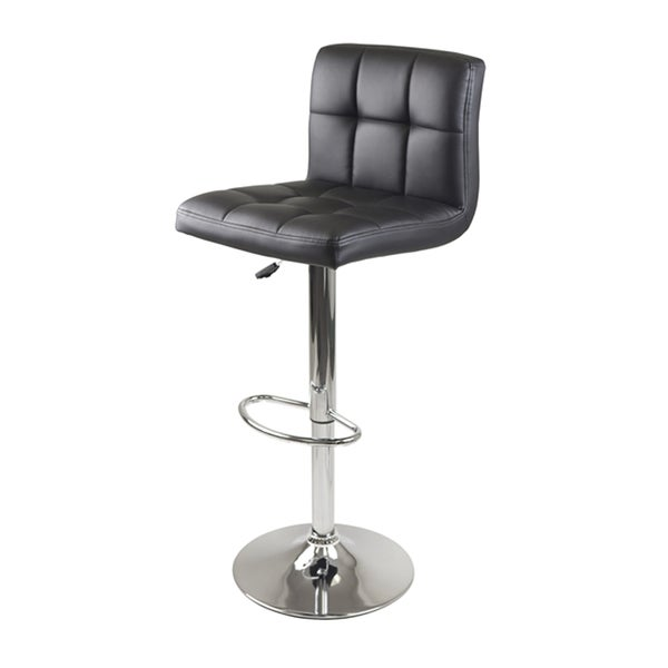 Stockholm Air Lift Stool, Swivel Square Grid Faux Leather Seat, Black 19248149