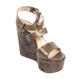 Casadei Women's Brown Leather Wedge Sandals