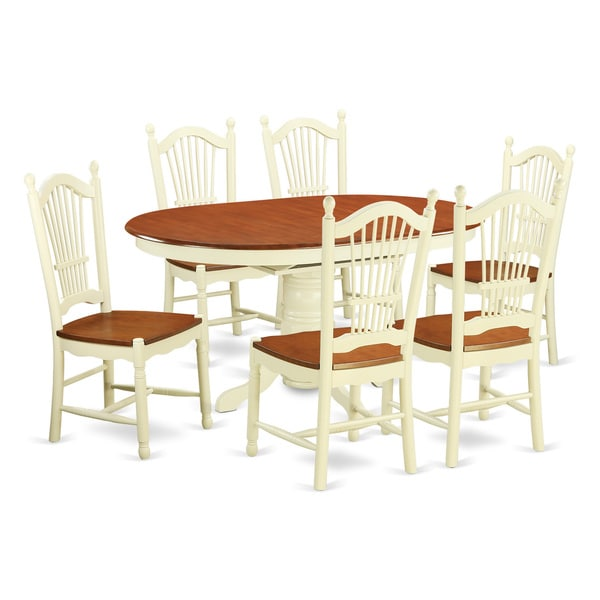AVDO7-WHI Cream Rubberwood 7-piece Table Set with Kitchen Dinette Table and 6 Dinette Chairs