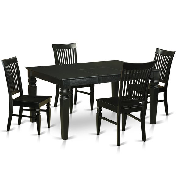Modern Solid Rubberwood 5-Piece Dining Set with Rectangular Table and 4 Chairs
