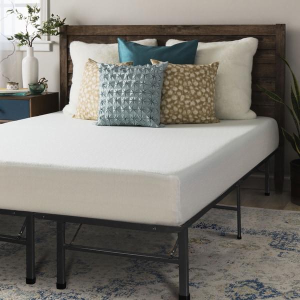 Crown Comfort 8-inch Queen-size Memory Foam Mattress and Platform Frame Set