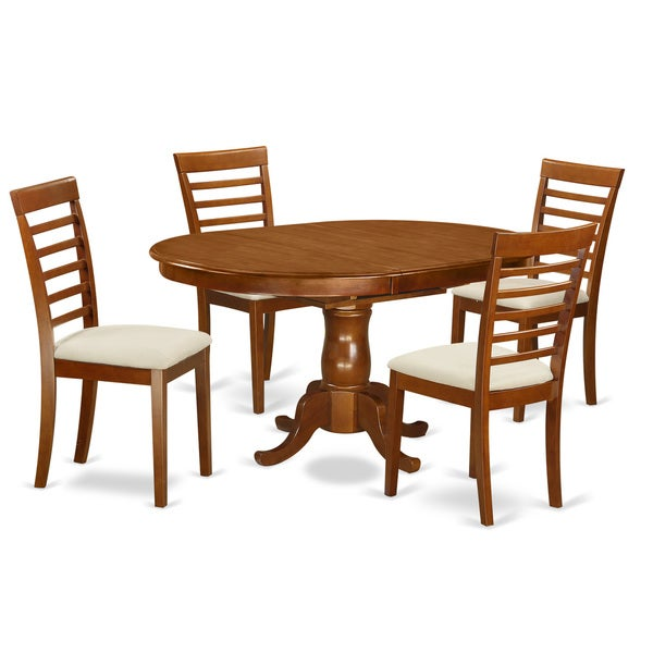 Natural Finish Rubberwood 5-piece Dining Table Set Including Oval Dining Leaf with 4 Dining Chairs