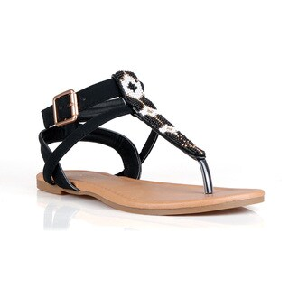 Hotsoles Dog Women's Beaded Flat Sandals