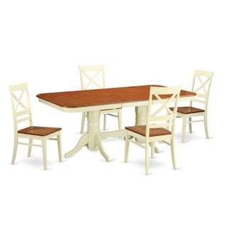 Buttermilk and cherry kitchen table and four kitchen chair for Four chair dining table set