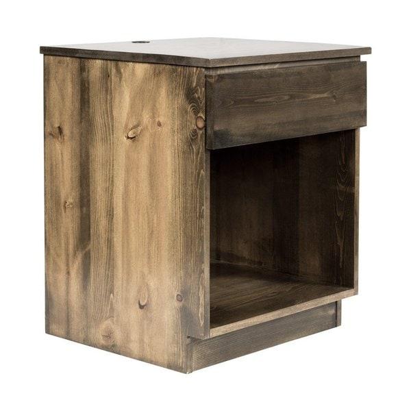 eLuxurySupply Walnut-finished North American Pine Bedside Nightstand