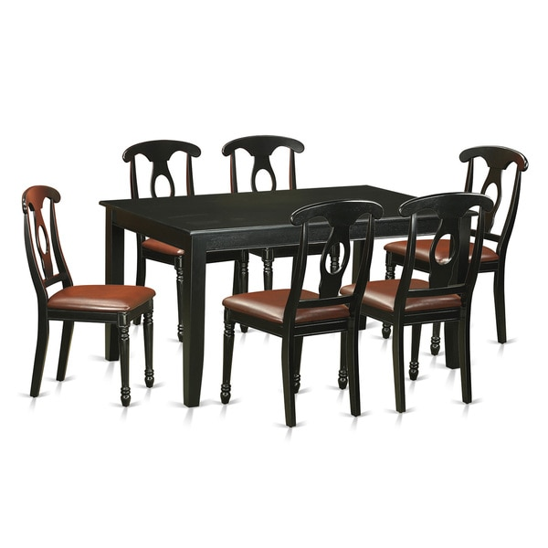 DUKE7-BLK Black Rubberwood Seven-piece Dining Room Set Including Small Kitchen Table and Six Dining Chairs