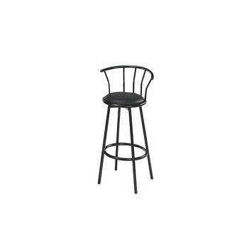 Cucina Black Faux Leather, Foam, Metal Swivel Bar Chair (Set of 2)