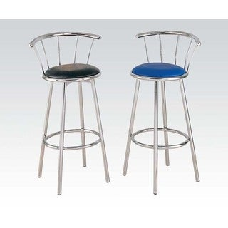 Cucina Bar Chair with Swivel (Set-2), Black PU and Chrome