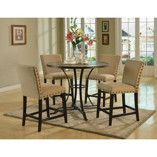 Byton Collection Beige, Black Fabric, Foam, Wood Counter Height Chair (Set of 2)