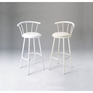 Cucina Set of Two White PU and Metal Swivel Bar Chairs