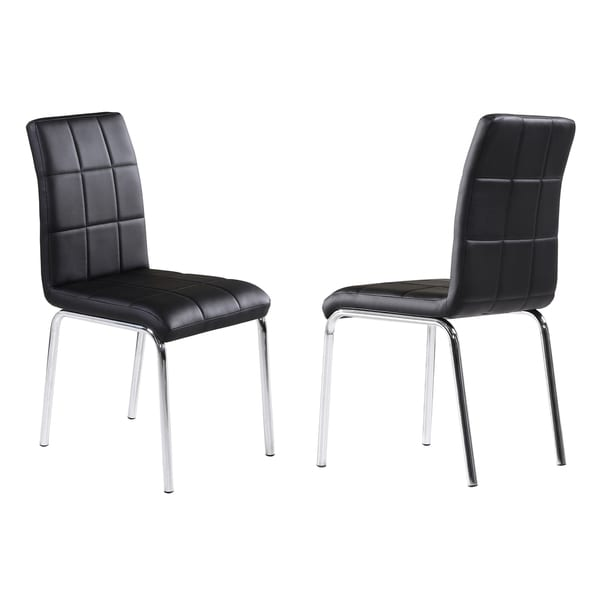 Solara II Black Faux Leather Side Chairs (Pack of 4)
