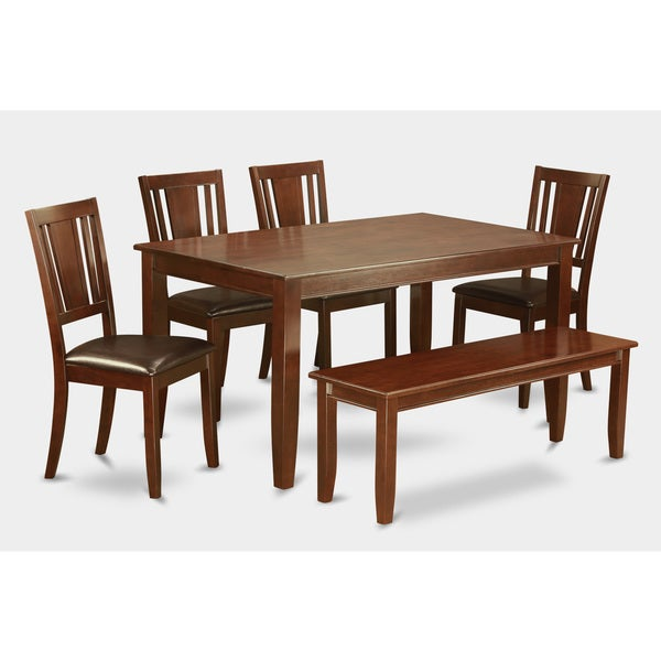 Traditional Mahogany Finish Solid Rubberwood 6-piece Dining Set with Table, Four Chairs, and Dining Bench 19248955