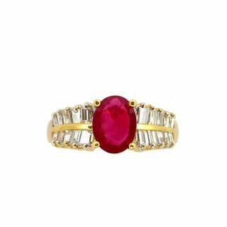 Kabella 18K Yellow Gold Oval Ruby and Diamond Ring