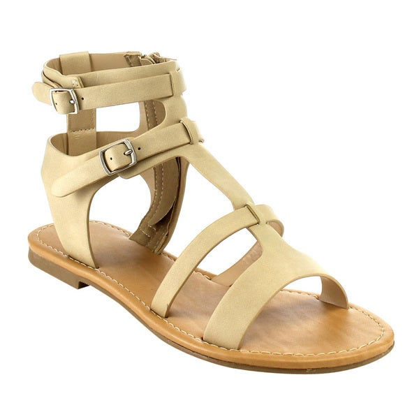 Cityclassified Women's IA21 Tan/Beige Faux Leather T-strap Double Buckle Side Zip Flat Sandals