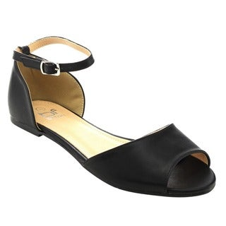 Betani FC11 Women's Black and Denim Ankle Strap D'Orsay Ballet Flats