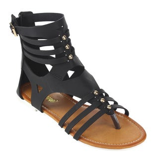 Reneeze Women's Back Faux-leather Zippered Gladiator Flat Sandals