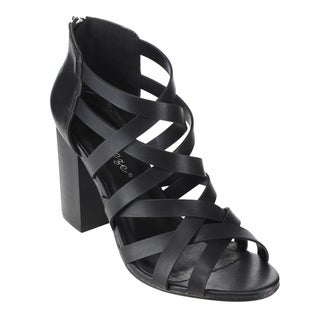 Reneeze AC47 Women's Black Faux Leather Gladiator Back Zipper Sandals