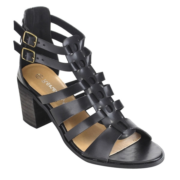 Reneeze Women's Black Faux Leather Gladiator Sandals