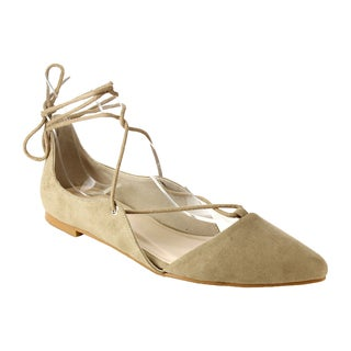 STYLUXE Women's GD06 Faux Suede Closed-toe Lace-Up Strappy Ballet Flats