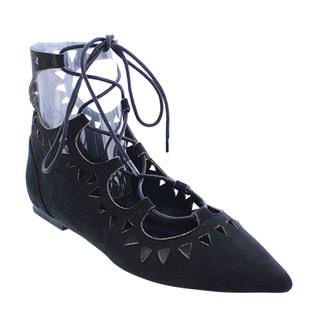Liliana Women's DC93 Cut-out Lace-up Ballet Flat Shoes