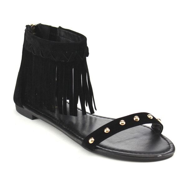 Bamboo Women's CANDICE-53M Tan/Black Faux Suede Single-band Fringe Ankle Strap Closed-back Flat Sandals