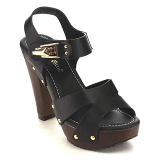 Nature Breeze EA63 Women's Platform Cut-out Studded Ankle Strap Sandals