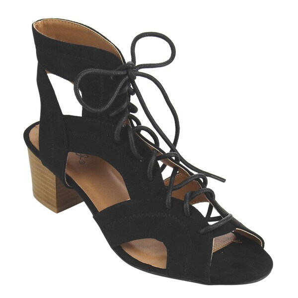 Qupid Women's FC06 Black Faux Suede Lace-up Cut-out Stacked Chunky Heel Gladiator Sandals